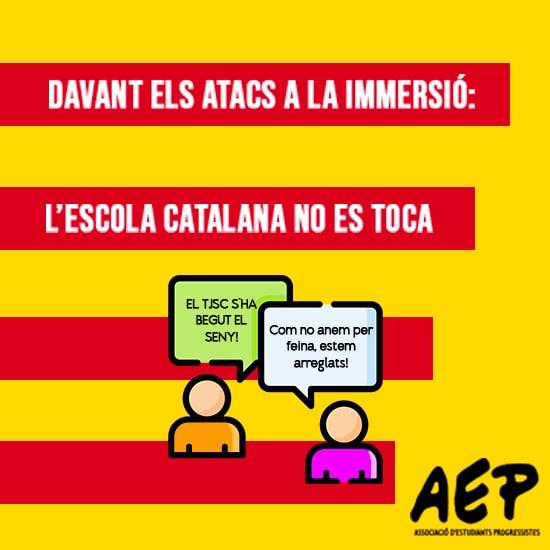 Davant l'atac del TSJC a la llengua, defensem l'escola en català